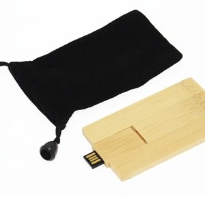 Bamboo USB Card With Pouch
