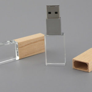 Crystal and wood USB