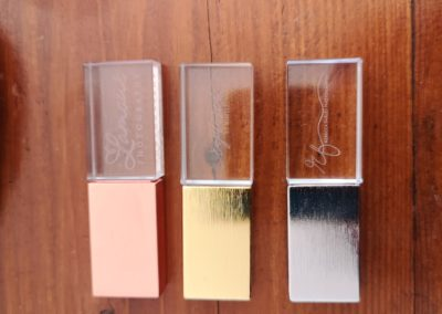 Gold, rose gold and silver crystal USB drives